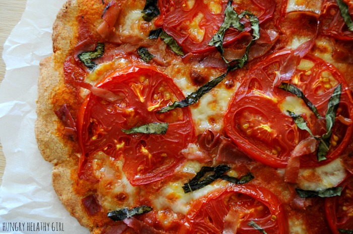 Caprese Pizza with a spelt flour crust- light and easy summer flavors in this delicious healthy pizza!
