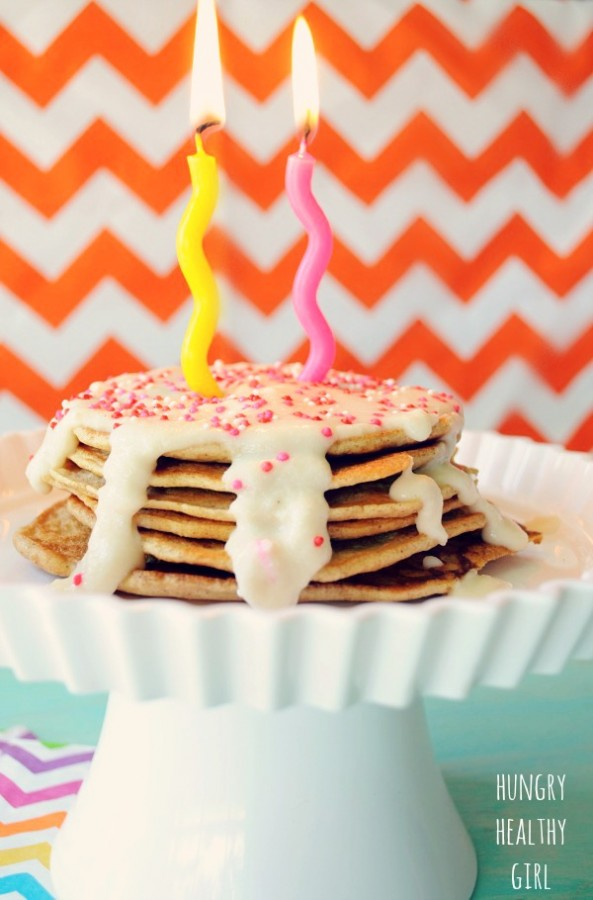 Healthy Birthday Power Cakes with coconut flour icing- the perfect healthy treat for your b-day sweetie! #healthy #vegan #birthday #pancakes #coconutflour