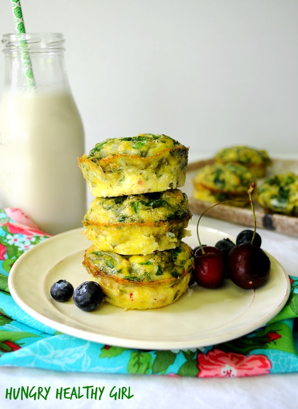 {Mini Frittatas} No need to waste time making breakfast in the morning- bake these mini spinach frittatas in advance and you'll have a protein-rich meal that's ready when you are. #meatlessMonday #glutenfree #healthy #makeahead
