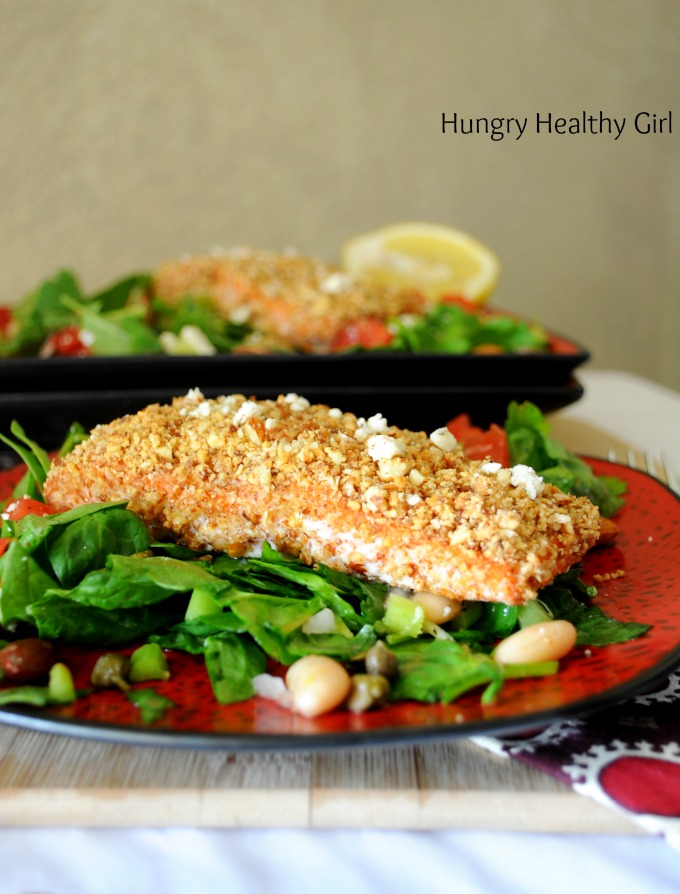 Rosemary Almond Crusted Salmon- An easy, quick, light and oh so tasty meal for two!