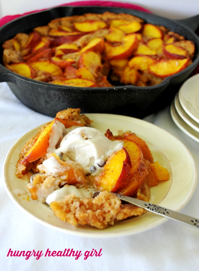 Fresh Peach Cake- Savor sweet, juicy peaches with this healthier peach skillet cake that tastes like summer.