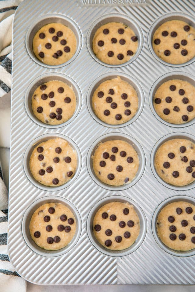 Banana Chocolate Chip Muffins in baking pan before baking