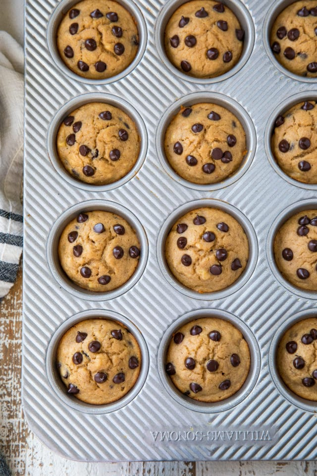 Banana Chocolate Chip Muffins in a muffin baking pan