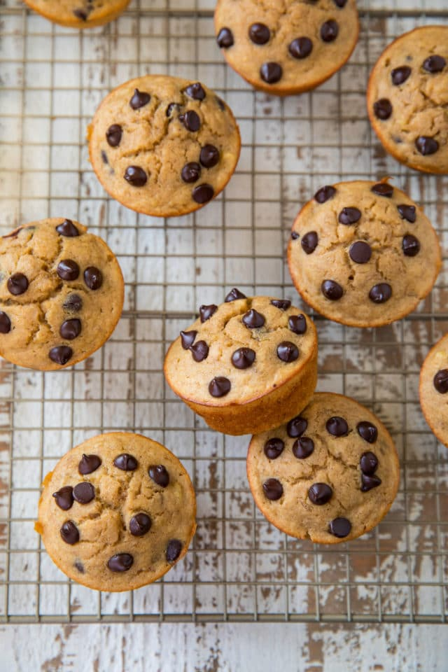 Banana Chocolate Chip Power Cakes on wire cooling rack