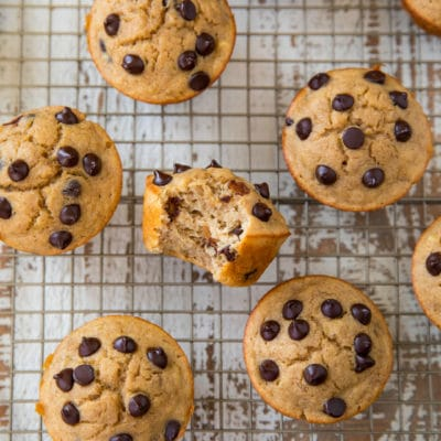 chocolate chip muffins on a wire cooling rack