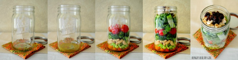 Salad in a Jar Tutorial- Make 5 salads in one day for a grab-n-go lunch throughout the week!