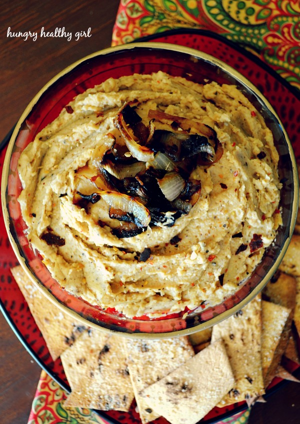 caramelized onion hummus- A unique hummus creation with tons of flavor!