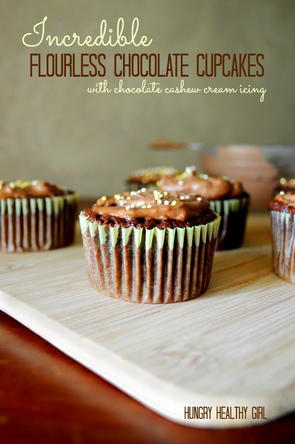 Incredible Flourless Chocolate Cupcakes with Cashew Cream Icing
