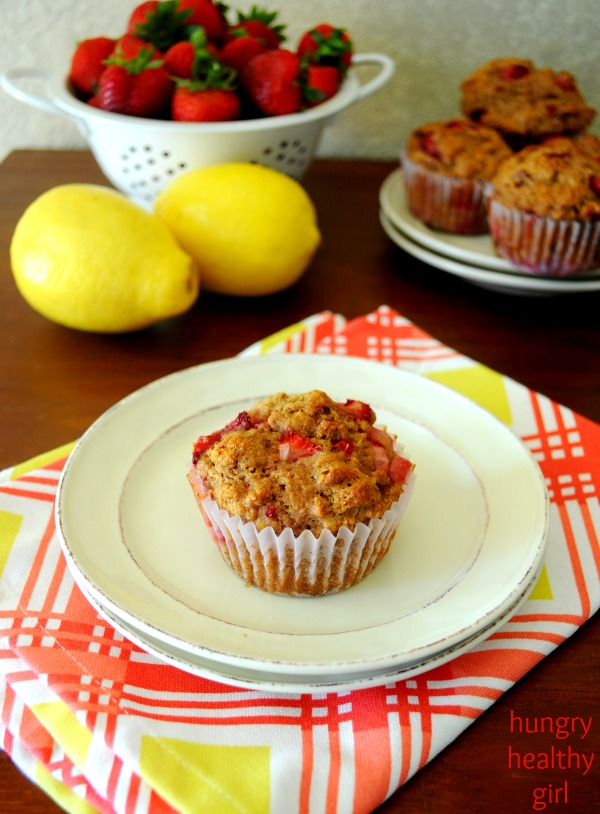 Whole Grain Strawberry Muffins- Scrumptious whole grain muffins, bursting with fresh strawberries, a hint of lemon and tons of flavor are perfect for breakfast or a quick grab-n-go snack!