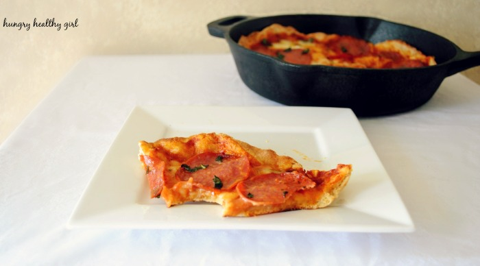 A whole wheat pizza cooked in the skillet that tastes just like an authentic oven-fired crust- puffy, light, and with the perfect crisp. This method is quick, easy and absolutely delicious!