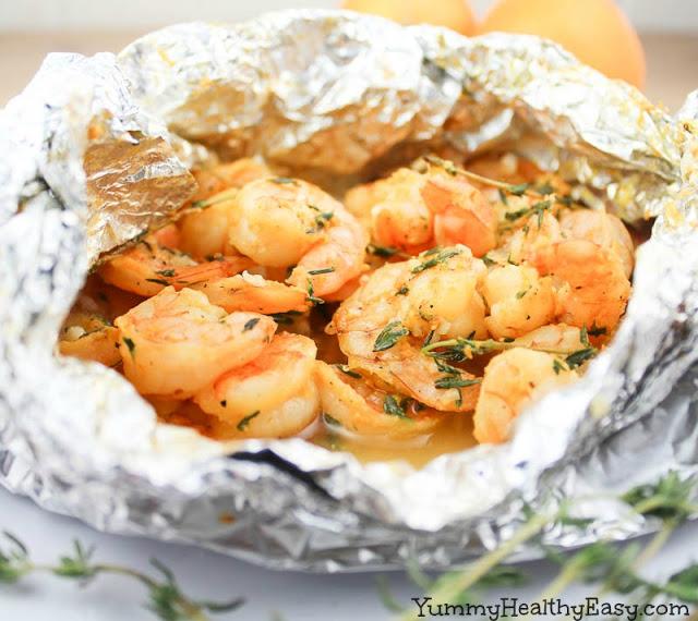 orange-thyme grilled shrimp in foil packets