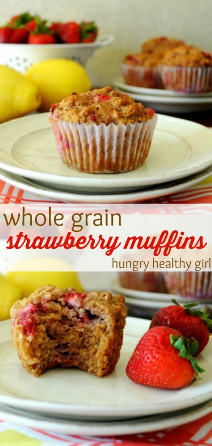 Scrumptious whole grain muffins, bursting with fresh strawberries, a hint of lemon and tons of flavor are perfect for breakfast or a quick grab-n-go snack!
