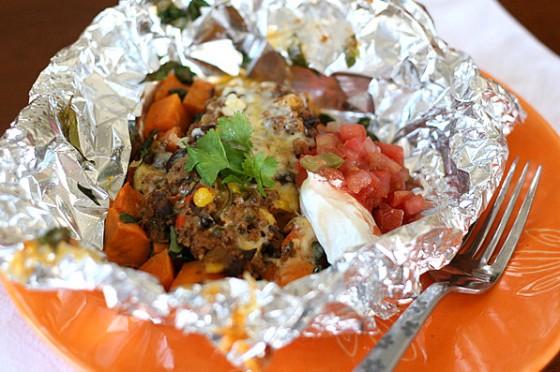 sweet potato foil packet tacos