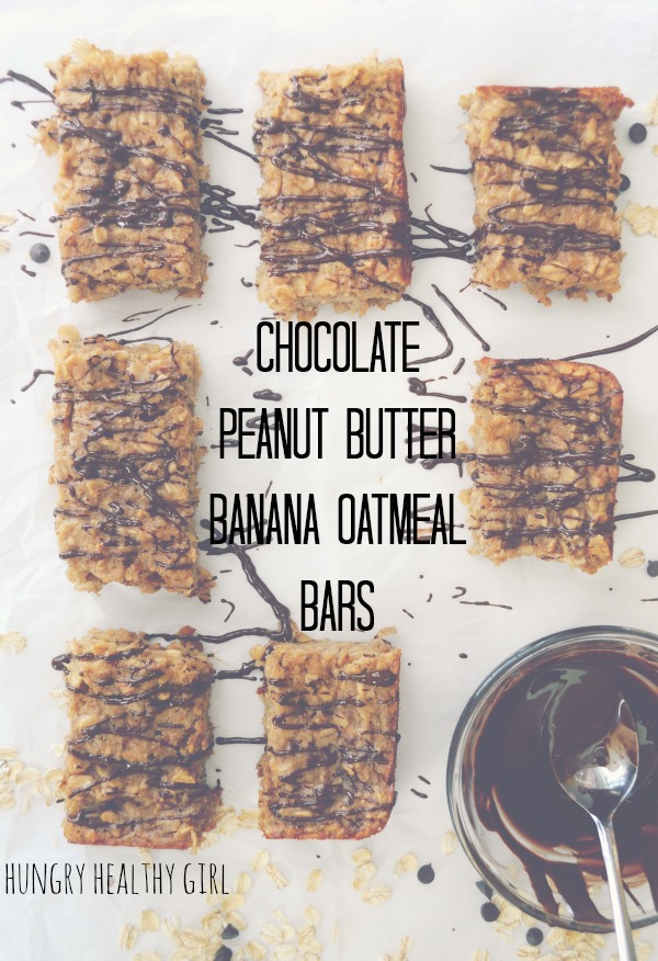 Chocolate PB Banana Oatmeal Bars- epic flavor, figure-friendly and over-the-top delicious. Perfect for breakfast, snack or dessert!