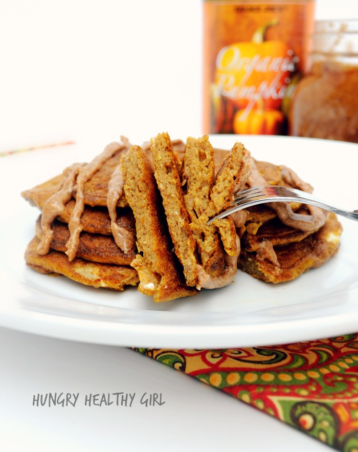 Flourless Pumpkin Pancakes- the taste of Fall in this easy, delicious, clean pancake.