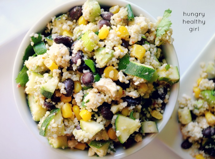 Chilled Black Bean Couscous Salad- the perfect compliment to any meal! Healthy and light!