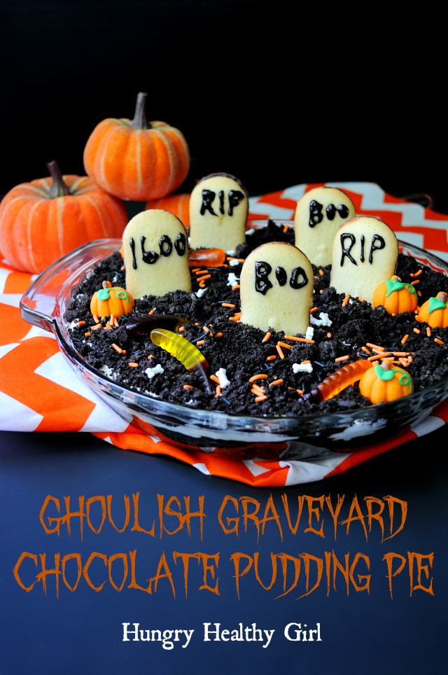 Ghoulish Graveyard Chocolate Pudding Pie- This treat may look frightful, but there's nothing scary about the taste!