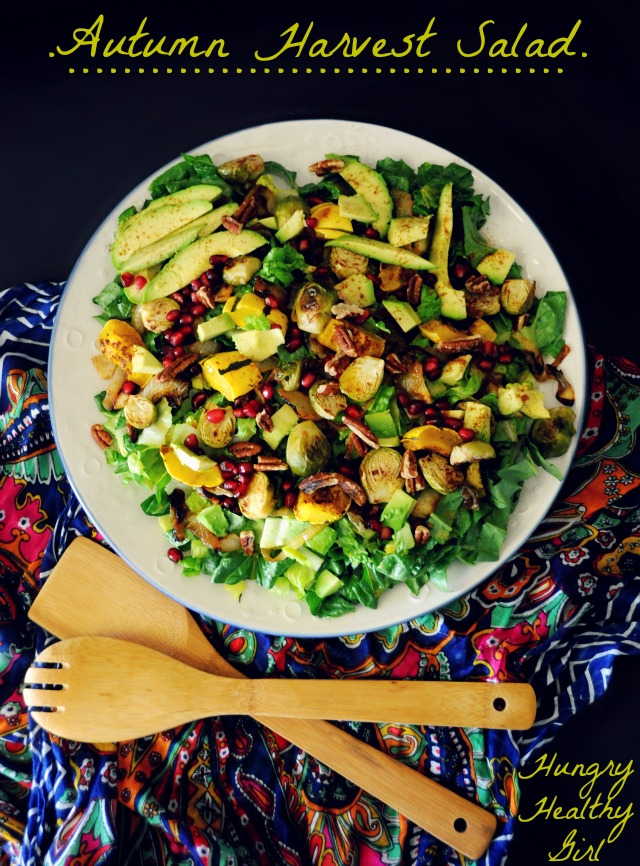 Autumn Harvest Salad with Roasted Squash, Brussels Sprouts, Caramelized Onions and topped with a sweet maple vinaigrette