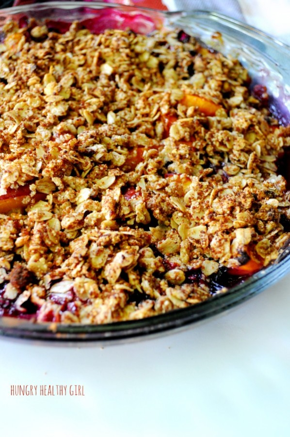 Easy Peach Blueberry Crisp #vegan #glutenfree #allnatural