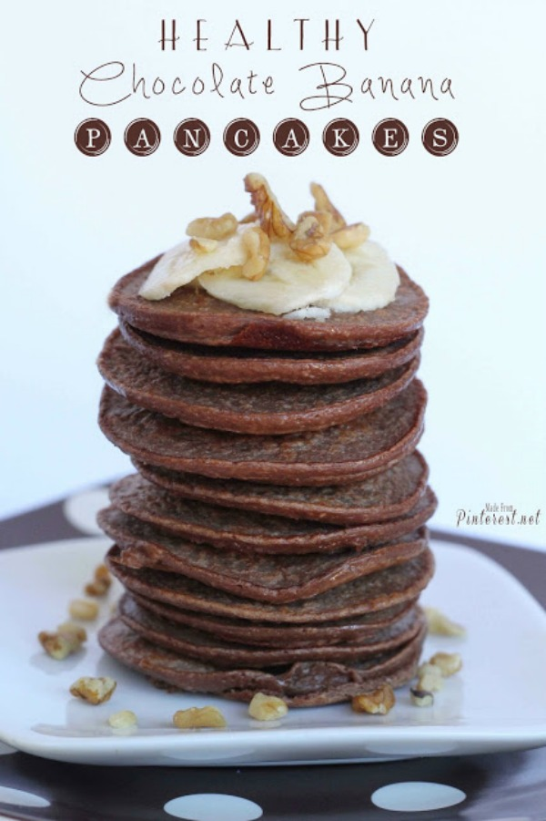 Healthy Chocolate Banana Pancakes