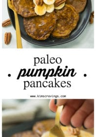 Pinterest image for Flourless Pumpkin Pancakes