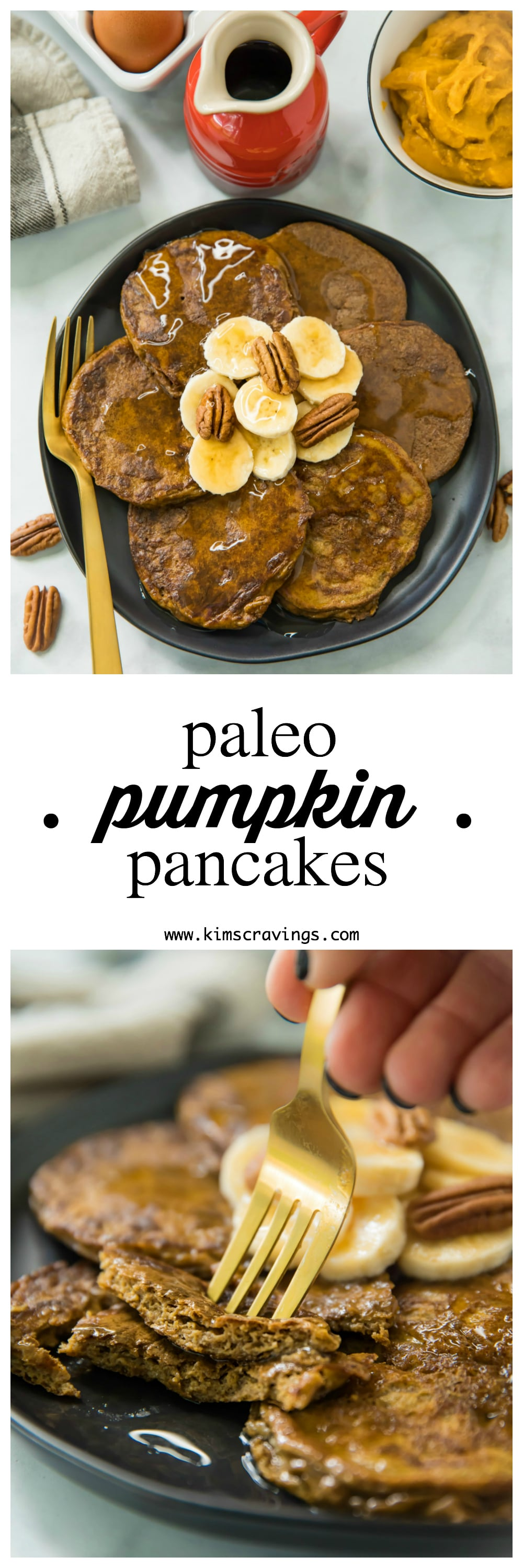 Hey friends! Ready for a plate of delicious, wholesome, Flourless Paleo Pumpkin Pancakes? These pancakes legit taste like enjoying tasty pumpkin pie for breakfast and they're actually healthy. You'll only need several ingredients to cook up these dairy-free, gluten-free pancakes.