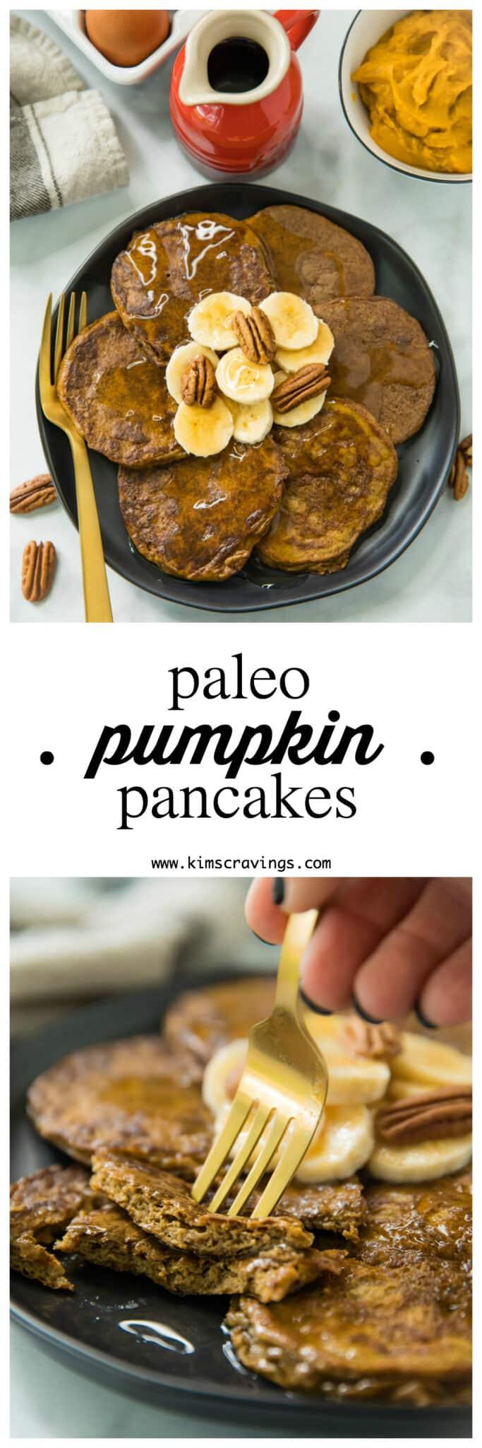 Pinterest image for Flourless Pumpkin Pancakes