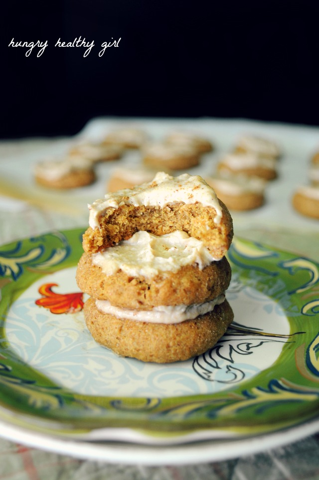 Vegan Pumpkin Cookies with a Pumpkin Spiced Cashew Icing- Soft pillowy deliciousness!