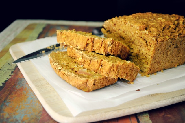Vegan Pumpkin Bread whipped up in the blender- easy, peasy and soooo delicious!