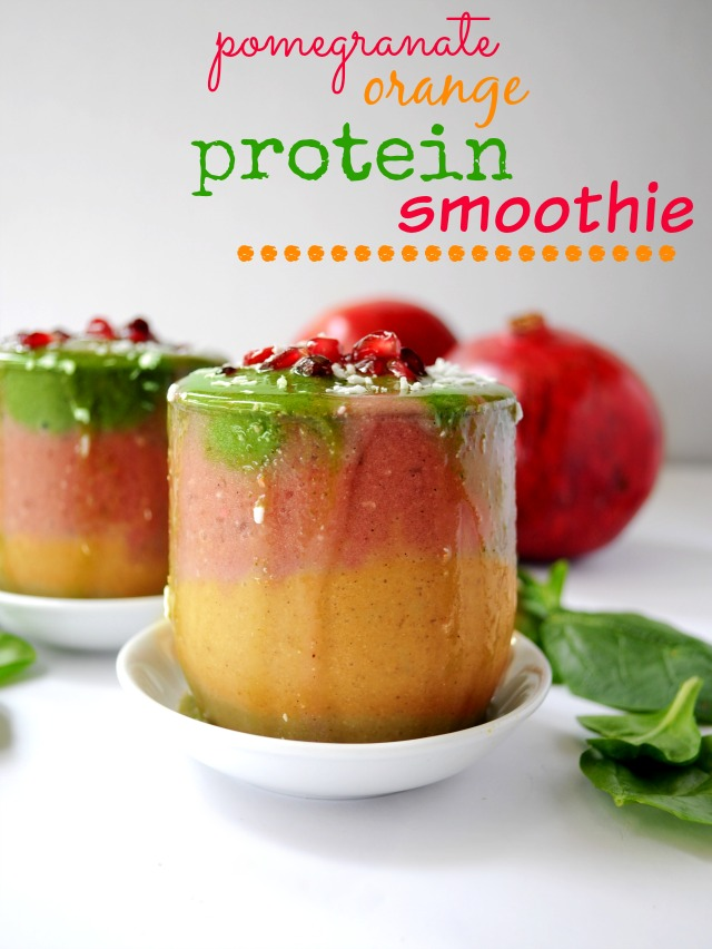 Incredible citrus flavors meet in layers of fun with this Pomegranate Orange Protein Smoothie.  Take your breakfast or post workout snack from mundane to magnificent!