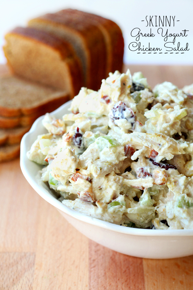 Skinny Greek Yogurt Chicken Salad- This lightened up chicken salad is full of flavor without unnecessary calories!