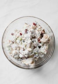 Skinny Greek Yogurt Chicken Salad in a large glass mixing bowl