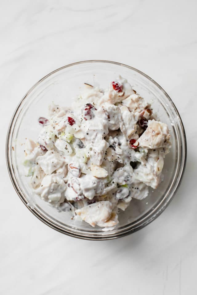 Skinny Greek Yogurt Chicken Salad in a large glass mixing bowl