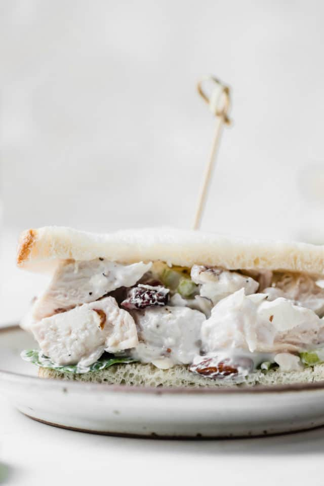 healthy chicken salad sandwich served with a toothpick through the top on a white plate