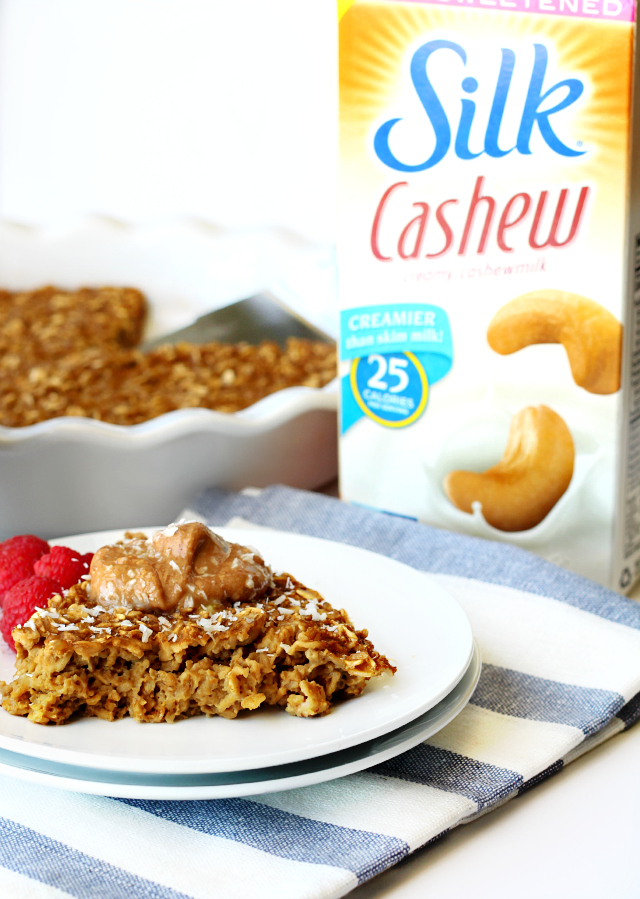 This coffee baked oatmeal is such a treat- oats baked with coffee and cashew milk and topped off with a dollop of peanut butter.