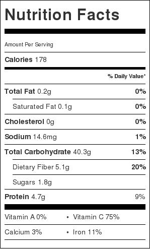 Nutritional information for easy roasted dill red potatoes