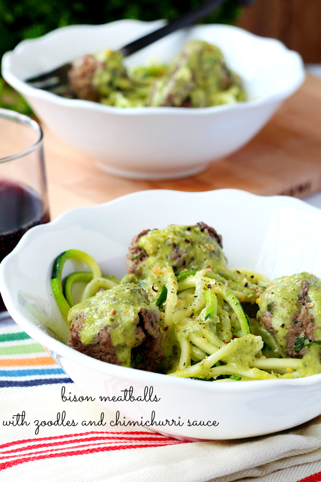 Bison Meatballs with Zoodles and Chimichurri Sauce