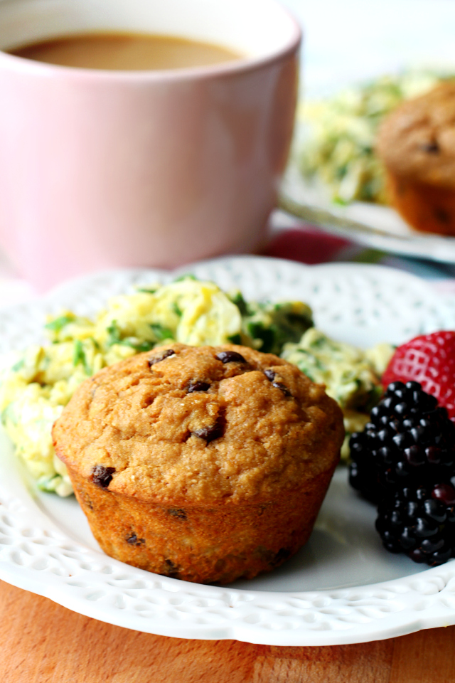 Chocolate Chip Banana Muffins made with pancake mix  will please even the pickiest of eaters!