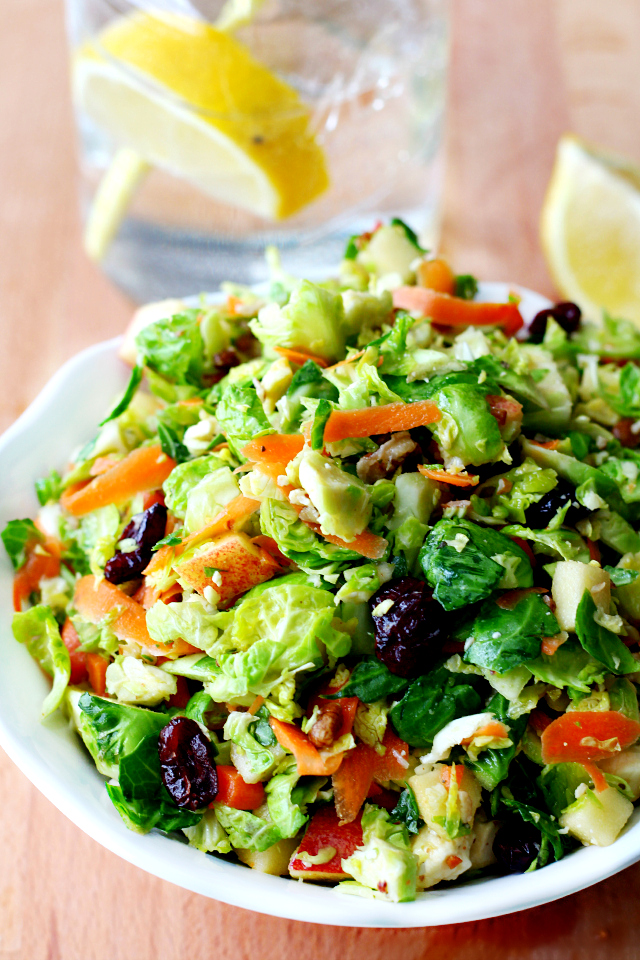 Brussels Sprout Salad with Apple Maple Vinaigrette, that's bursting with flavor!