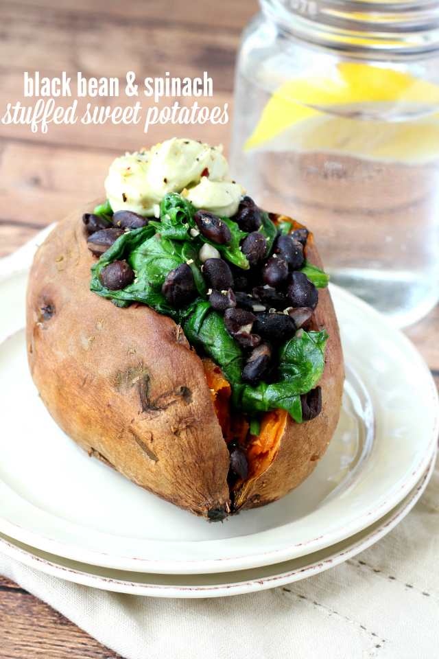 Black Bean and Spinach Stuffed Sweet Potatoes make for a light, but satisfying lunch or pair it with seared salmon or grilled chicken for a wonderful dinner.