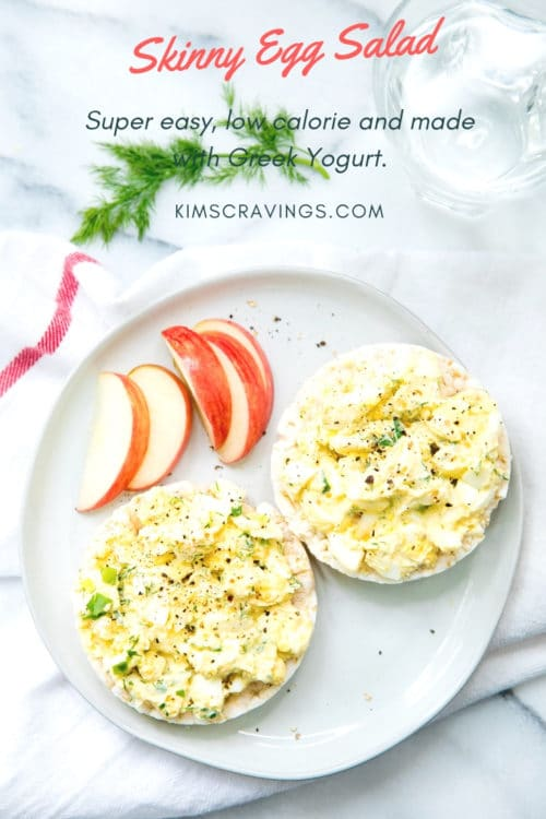 egg salad served on rice cakes on a white plate