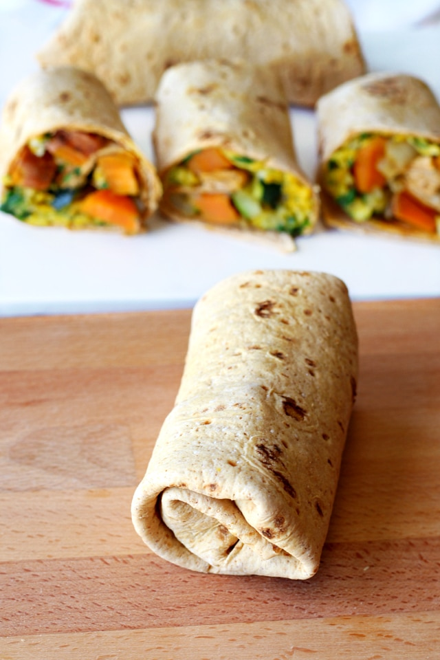 Sweet Potato Breakfast Burritos with Flatout
