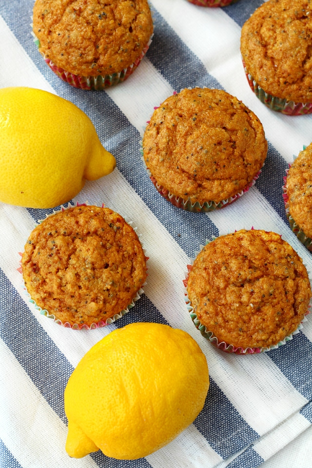 Healthy Lemon Poppy Seed Muffins- delightful lemony flavor topped with Greek yogurt frosting to give these babies the perfect amount of sweetness!