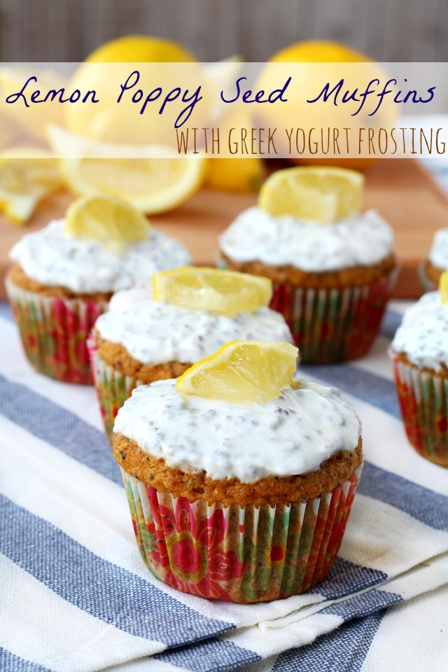 Lemon Poppy Seed Muffins With Greek Yogurt Frosting Kim S Cravings