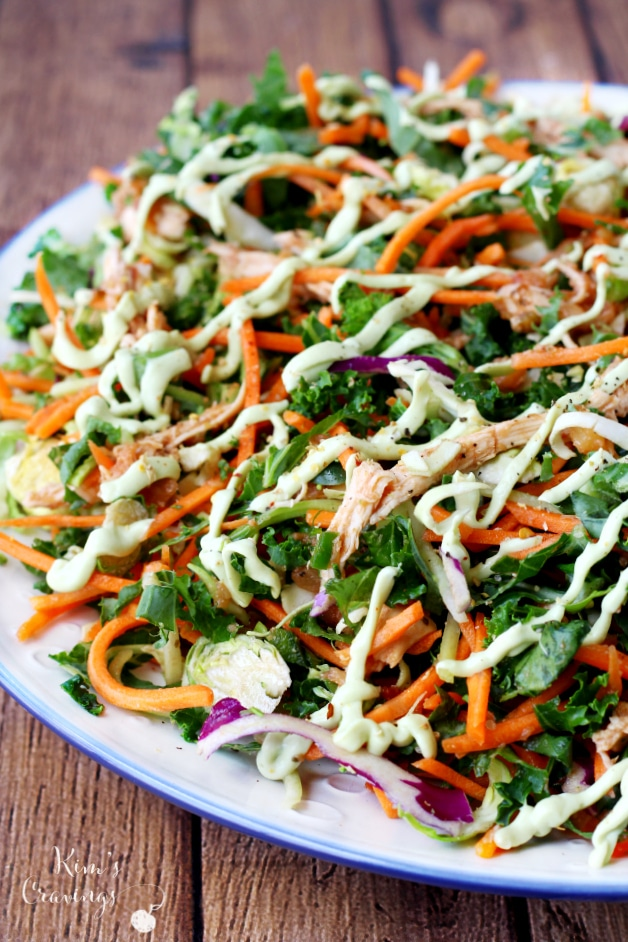 Cruciferous Crunch Salad with Avocado Dressing- a crunchy delectable salad that's filled with cancer-fighting veggies.