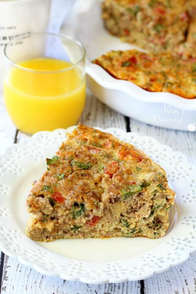 Breakfast casseroles are also great because they're so versatile. Not feeling kale? Use spinach instead or leave out the veggies completely. Red bell pepper would be a tasty substitute for the tomatoes and turkey bacon would work, if sausage is not your thing. If you're like me and enjoy breakfast for dinner, this casserole makes a fantastic option and you'll have leftovers for breakfast or lunch the next day!