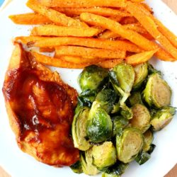 A quick, tasty, balanced meal is exactly what I'm after and this easy skillet BBQ chicken with Brussels sprouts and sweet potato fries is the perfect fix. The meal comes together in less than 30 minutes, it has tons of flavor and takes very little prep.