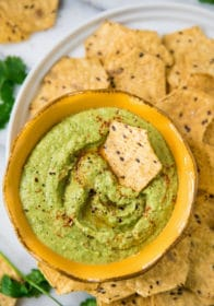 Cilantro Jalapeño Hummus served with tortilla chips