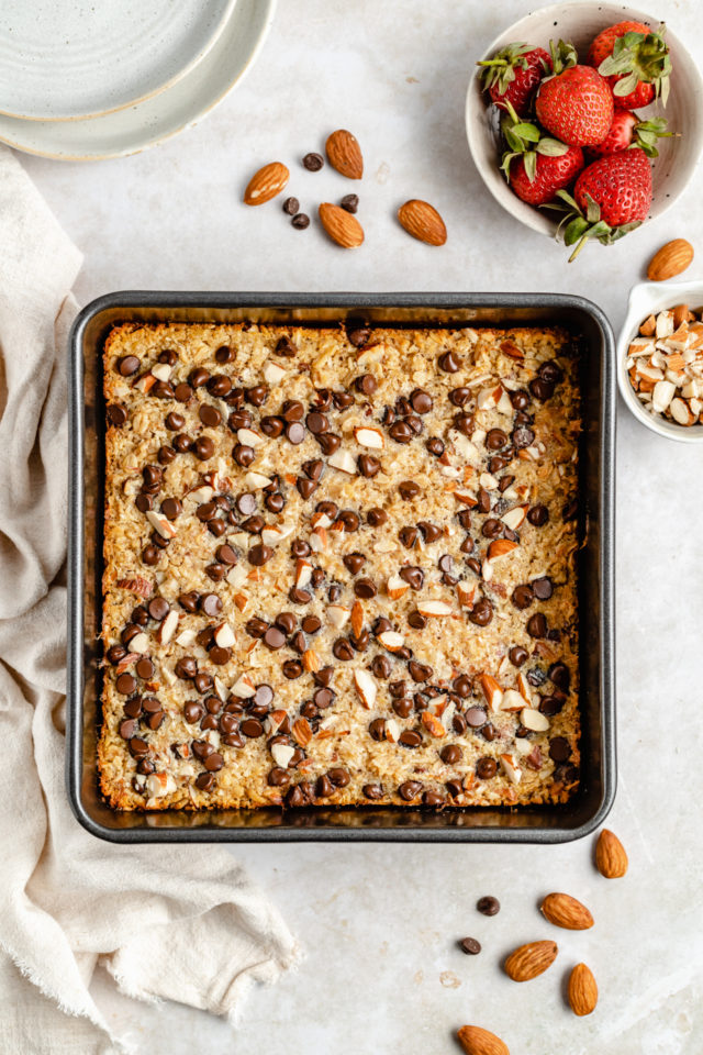 baked oatmeal in a square baking dish
