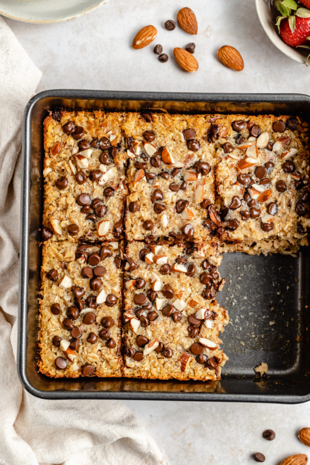 square baking dish with Chocolate chip baked oatmeal